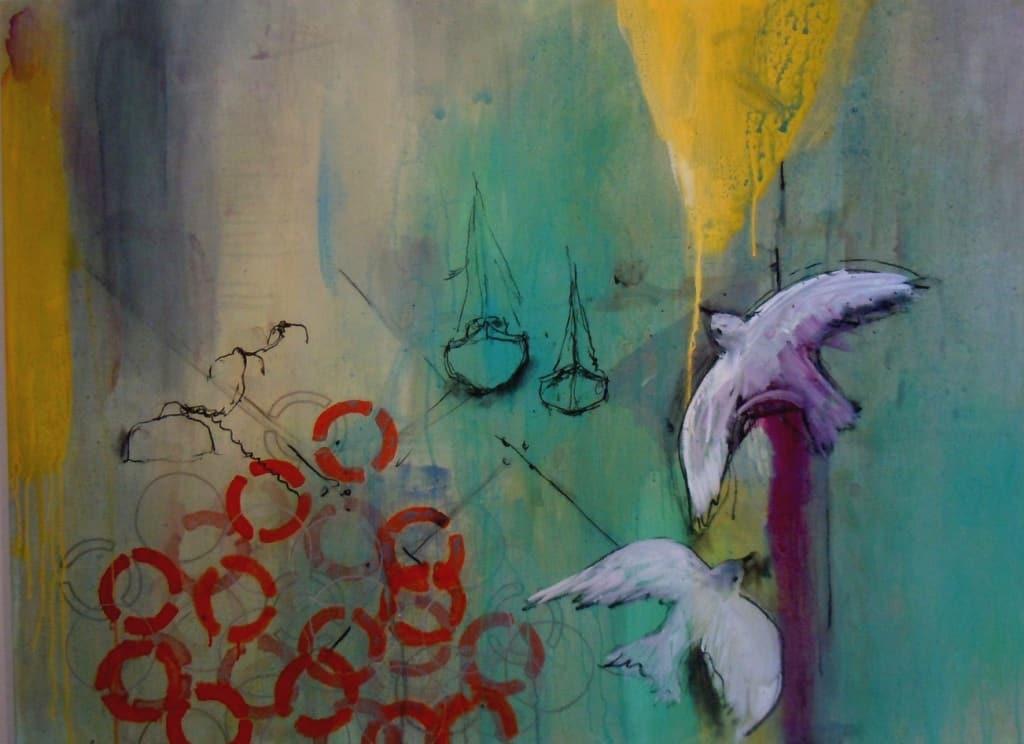 Gathering Momentum - Sun Pier. Painting 90x120cm
